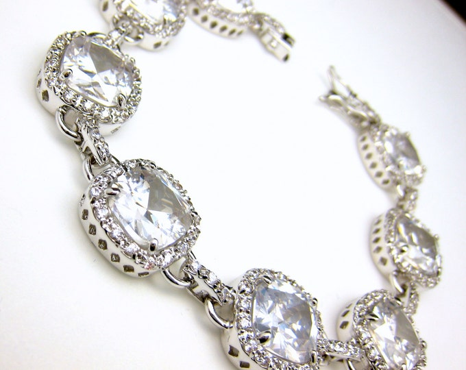 Wedding jewelry bridesmaid bridal bracelet gift party prom christmas pageant rhodium pave Clear white square cushion cut cubic zirconia