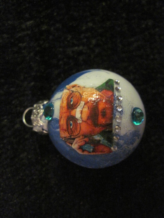 Breaking Bad Heisenberg TINY Hand Crafted Decoupaged Christmas Glass Ornament