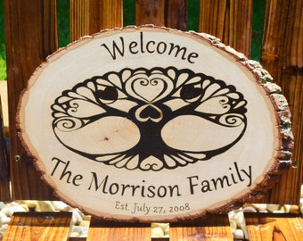 Rustic Welcome Sign, Wood Burned, Pesonalized