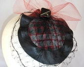 Red and Black Plaid Fascinator with Vintage Button and Salvaged Leather
