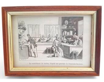 Vintage Framed Traditional Regency Costume Print - Millinery - France - Europe
