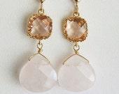 Peach Earrings, Rose Quartz, 14 karat Peach Bridal Jewelry, Bridesmaid Earrings, Peach Rose Wedding Jewelry