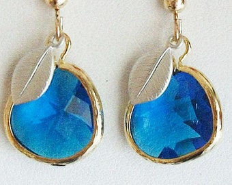 Sapphire earrings, Royal Blue Sapphire glass earrings, leaf Earrings, Glass Earrings, Blue earrings, Gift for Mom, Bridesmaids, Anniversary