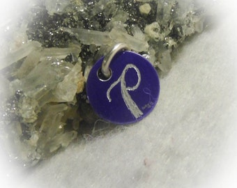 Letter P Hand Engraved Purple Personalized Small  Charm 1/2 inch