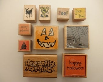 10 Halloween rubber stamps - used, wood, boo, trick-or-treat