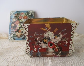 antique Edward Sharp and Sons Decorative TIN - gold,  Made in England