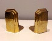 Vintage Art Deco / Hollywood Regency Brass Bookends