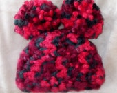 Super Thick... Warm... Pom Hat in Red, Burgandy & Green....Boy or Girl....Size 0 to 3 Month and 3 up to 6 month