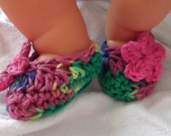 BACK in STOCK..Tie Dye Slipper...Ballet Flat...Baby Girl...Newborn up to 3 Month Size...Flower Accent...Slip On Shoe...Gift for Hippie Baby.