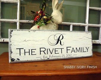 Shabby Personalized Family name sign Custom signs last name sign Engraved Custom wedding gift Established family signs 8 x 20