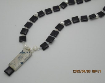 Necklace  Goldstone in Navy  and Ceramic Rectangular Japanese Pendant Freshwater Pearls Spacers Necklace Neo-Victorian
