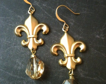 Brass French Fleur de Lis  and Crystal Earrings