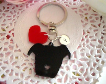 Pitbull Love Keychain With Hand Stamped Initial Tag Made to order Personalized Customized