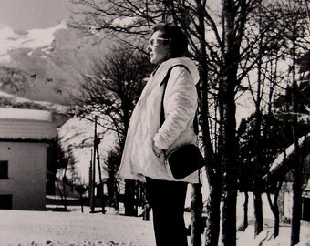 Vintage Wintertime Photo - Woman in the Snow
