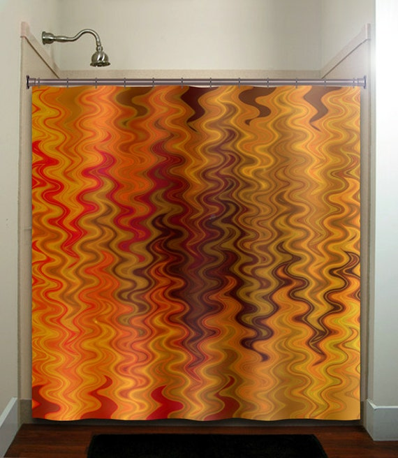 Fire Tapestry Flame Orange Brown Shower Curtain Fabric Extra