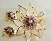 Vintage 50s Brooch and Earrings set Dead Stock the tags - on sale