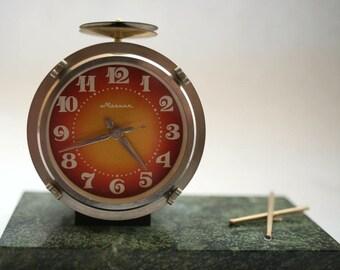 Vintage Russian Mechanical Clock - Molnija / Molniya - Drum Baraban - Working - 1970s - from Russia / Soviet Union / USSR