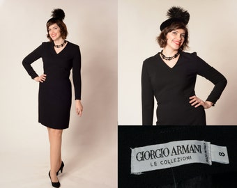 Vintage 1990s Giorgio Armani Dress - LBD Black Wool - Winter Fashions