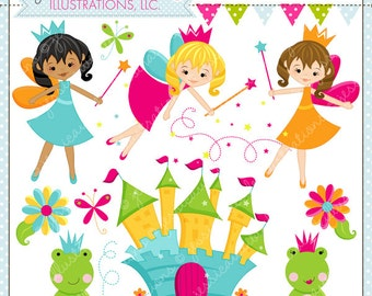 Fairy Dust Cute Digital Clipart - Commercial Use OK - Fairy Clipart, Fairy Graphics, Fairies, Castle, Fairy Tale