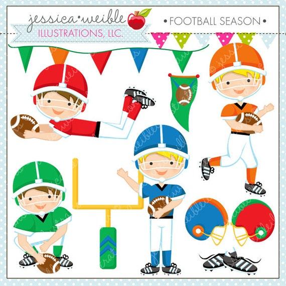 Football Season - Cute Digital Clipart - Commercial Use OK - Football Clipart - Football Graphics - Cute Football Clipart