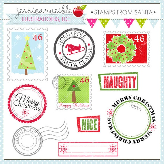 from Santa Cute Digital Clipart - Commercial Use OK- Postage Stamp ...