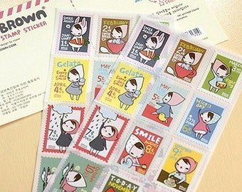 Bandana Girl Monthly Postage Stickers - 2 sheets (3.75 x 7.9in)