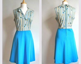 Vintage Geometric Striped Sleeveless Dress with Blue Teal Skirt // 1970s