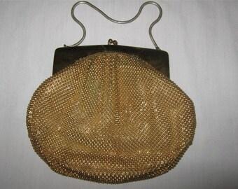 Antique Vintage WHITING & DAVIS Gold Metal Bead Mesh Flapper Purse