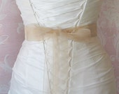 Blush Champagne Organza Ribbon, 1.5 Inch Wde, Ribbon Sash, Bridal Sash, Wedding Belt, 4 Yards