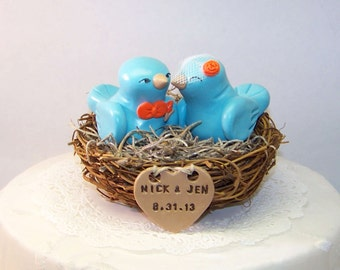 Bird Wedding Cake Topper - Nest LoveBirds - Aqua, Light Teal and Orange - Personalized Heart - Customizable Wedding Nest Cake Topper Birds