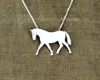 Horse necklace sterling silver, tiny silver hand cut pendant