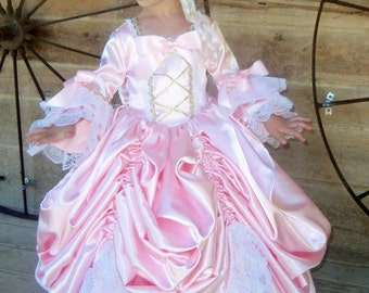 WeHaveCostumes Historical Beauty Ball Gown Handmade Modest 1700's Queen of France Costume -Pink Marie Antoinette- Child Sizes up to 14