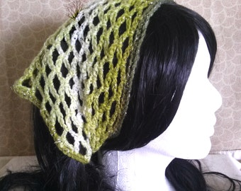 Olive Green Sparkle Crochet Kerchief