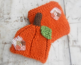 Pumpkin Hat Diaper Cover, Knit Baby Cap Knitted Newborn Infant Fall Photo Prop, Patchwork Accent, Halloween, Autumn, Jack o lantern