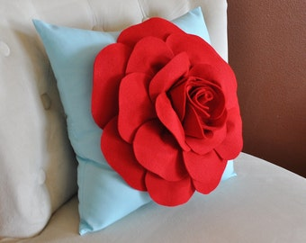 Throw Pillow, Red Rose on Light Aqua Pillow Baby Nursery Decor