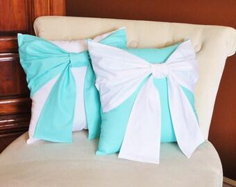 Throw Pillow Set White Bow on Bright Aqua Pillow and Bright Aqua Bow on White Pillow 14x14 -Aqua Blue Pillow-