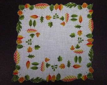 Vintage Handkerchief Autumn Leaf Design (vh170)
