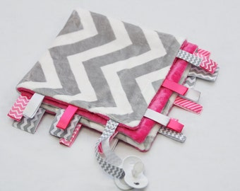 Baby Ribbon Tag Blanket - Minky Binky Blankie - Grey and White Chevron with Fuschia