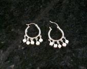 Pearl and sterling silver chandelier earrings