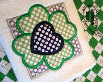 4 Leaf clover heart  This design includes both zig-zag & satin stitch designs