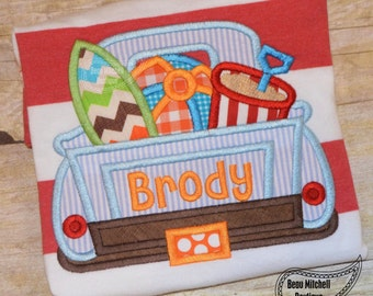 Surf Truck applique embroidery design