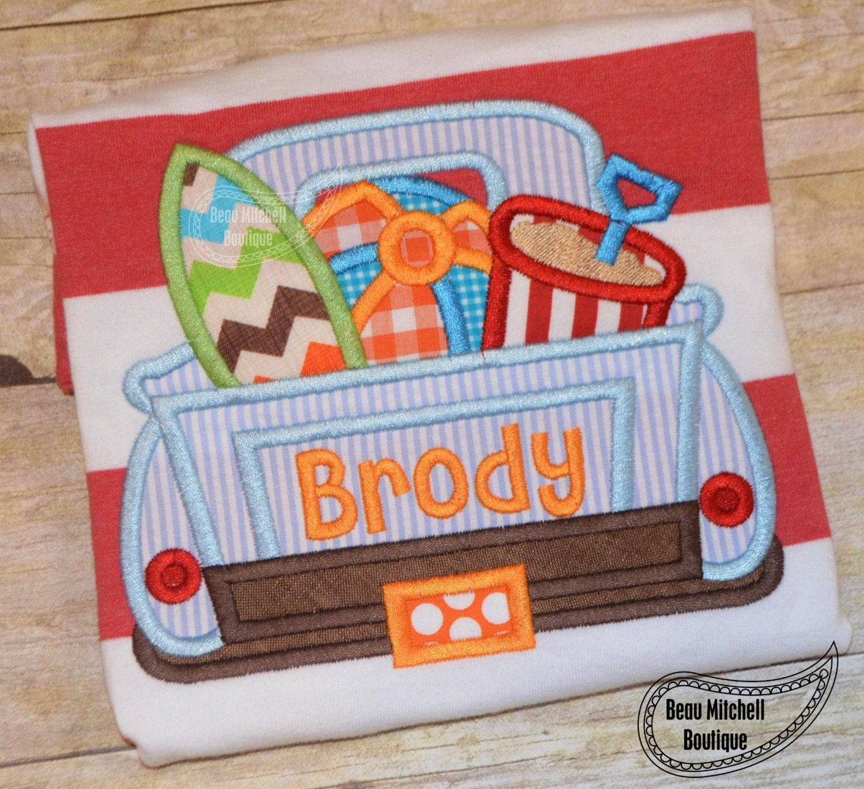 Surf truck applique embroidery design