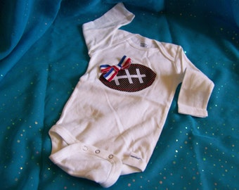 Long Sleeve Red, White, & Blue Football Onesie (check for sizes)