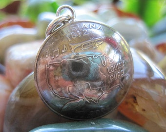 Domed Louisiana State Quarter Pendant with Sterling Silver Bail MADE TO ORDER.