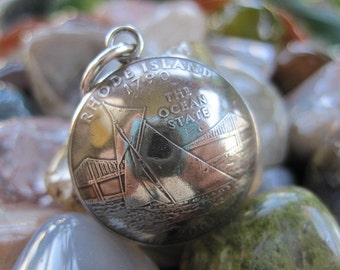 Domed Antiqued Rhode Island Quarter Pendant with Handmade Sterling Silver Bail MADE TO ORDER.
