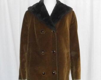 Womens Coats Womens Vintage Coats Womens Corduroy Coat Brown Corduroy Coat Fleece Coat 60s Coat London Fog Coat Womens Winter Coats