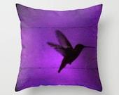 "Hummingbird PILLOW 16"" 18"" 20"" square Jewel tones green blue red purple pink you choose Throw Pillow"