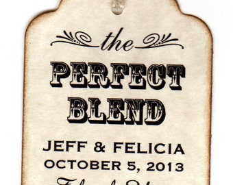 50 Personalized Perfect Blend Wedding Favor Tags, Place Card Escort Tags, Thank You Tags, Coffee Tea Label Tags, Vintage Style
