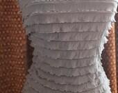 "1+ yard Charcoal Gray Tie Dye 3/4"" RUFFLE layered Stretch fabric 56"" wide"