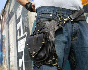 Gaucho Leg Holster BROWN and Antique Brass Steampunk Dieselpunk  Utility Belt Bag